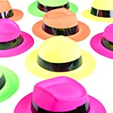 Super Z Outlet Neon Color Assorted Mafia Style Retro Old School Vintage Gangster Theme Fedora Dress Hats Soft Plastic Children's Birthday Props Supplies Favors (12 Pack, One Size Fits Most) by