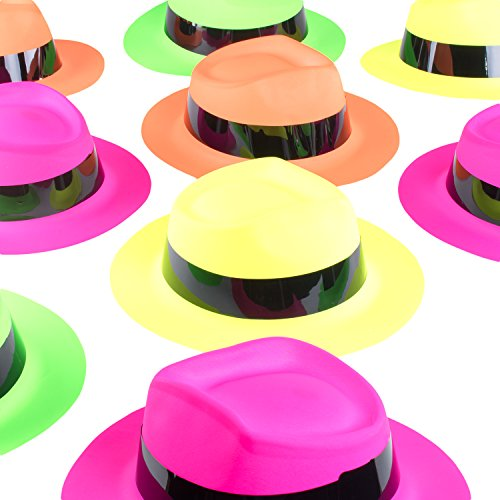 Super Z Outlet Neon Color Assorted Mafia Style Retro Old School Vintage Gangster Theme Fedora Dress Hats Soft Plastic Children's Birthday Props Supplies Favors (12 Pack, One Size Fits Most) ()