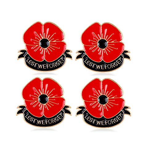 YONGHUI 4 PCS Enamel Red Poppy Flower Brooches Pins for Women Lest We Forget Lapel Pin Badges Memorial Day Coat Jacket Dress Scarf Accessories Jewellery Gifts