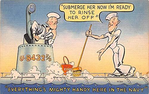 Military Comic Postcard, Old Vintage Antique Post Card Submerge, Navy Unused