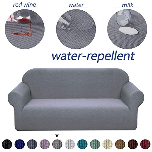 Granbest Premium Water Repellent Sofa Cover High Stretch Couch Slipcover Super Soft Fabric Couch Covers (Light Gray, Sofa) (Waterproof Sofa Cover)