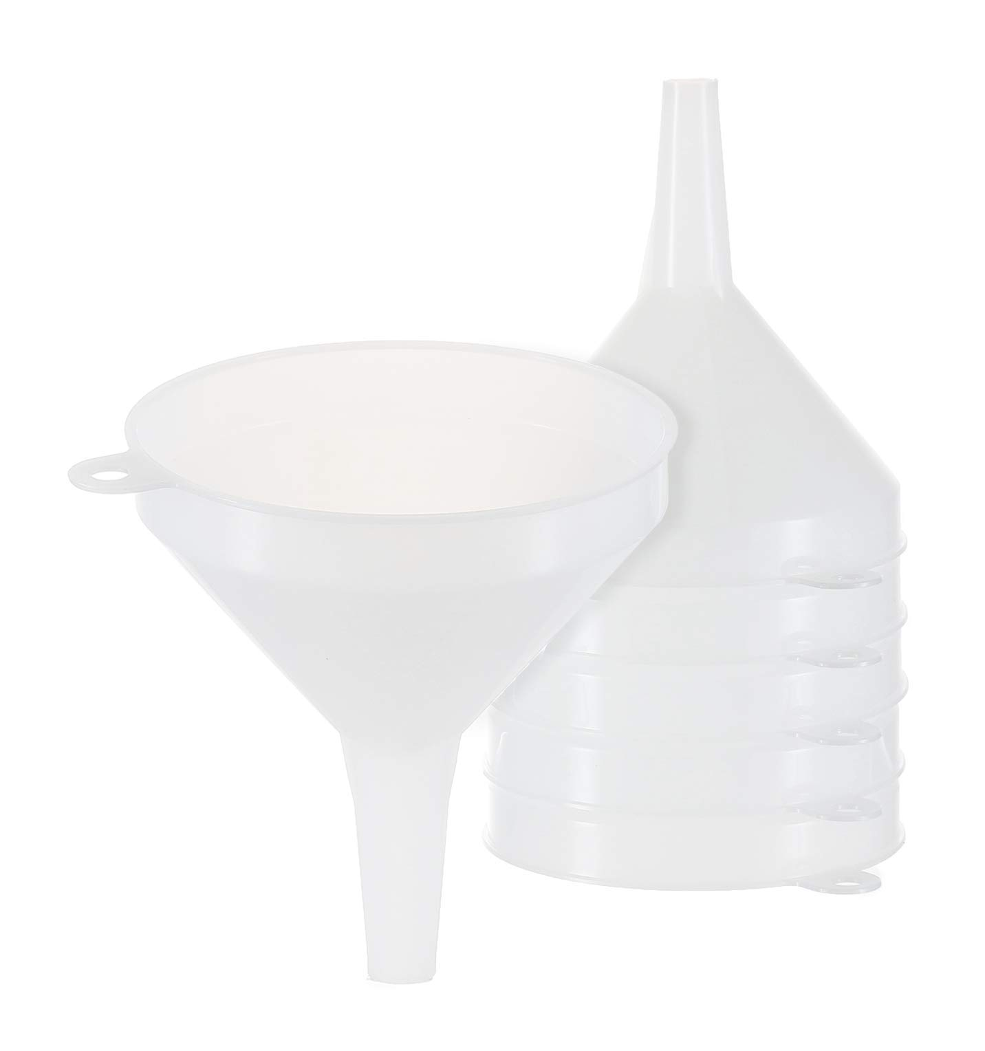 "6 Pack - 4"" Multi-Purpose Funnels - General Purpose Plastic Funnel with Long Reaching Spout for Easy and Smooth Content Transfer - Food Safe/BPA Free"