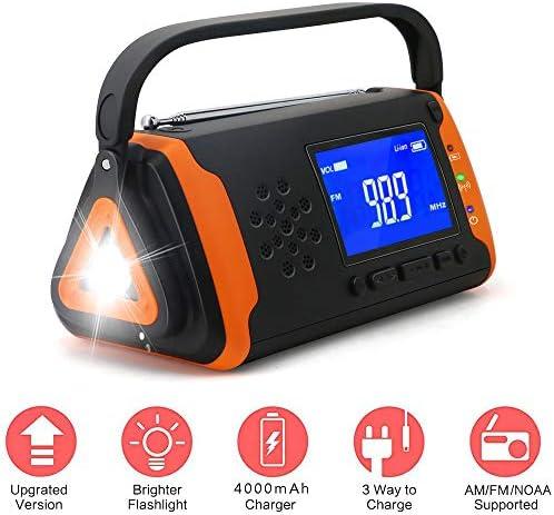 5-In-1Emergency Solar Radio,4000Mah Power Bank Phone Charger