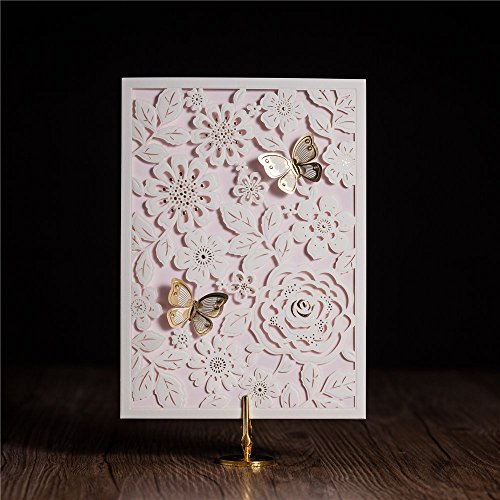Wishmade 50X Laser Cut Invitations Cards with Gold Butterfly For Wedding Party Birthday CW5192
