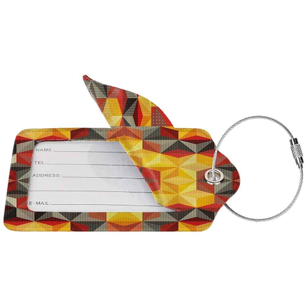 Printed luggage tag Modern Art Home Decor Psychedelic Design with Geometric Kaleidoscope Diagonal Fractal Star Image Protect personal privacy Multi W2.7 x L4.6