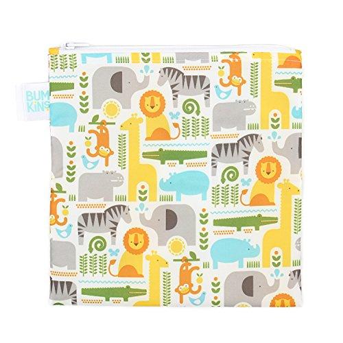 Bumkins Petit Collage Reusable Snack Bag Large, Safari Mix