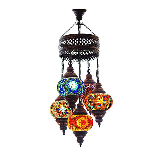 Turkish Authentic 5 Globe Mosaic Chandelier Mosaic Lamp Moroccan - Light Chandelier Lantern