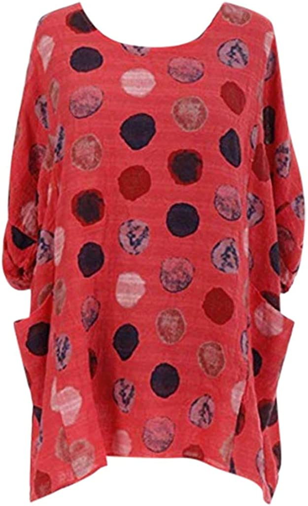 Alangbudu Women Contrast Dot Print Long Pullover Oversized Tops Long Sleeve Sweatshirt Blouse Casual Tunic with Pocket