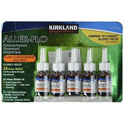 Kirkland Aller-Flo Fluticasone Propionate (Glucorticoid) 5 bottles x 120 Metered Sprays .54 Fl OZ per bottle (15.84 mL x 5) 2.70 OZ total (79.0 mL total) 600 Total Sprays total