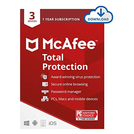 McAfee Total Protection 2021, 3 Device, Antivirus Internet Security Software, VPN, Dark Web monitoring, 1 Year with Auto…