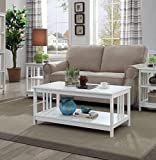White Wood Coffee Table Set Convenience Concepts Mission Coffee Table, White