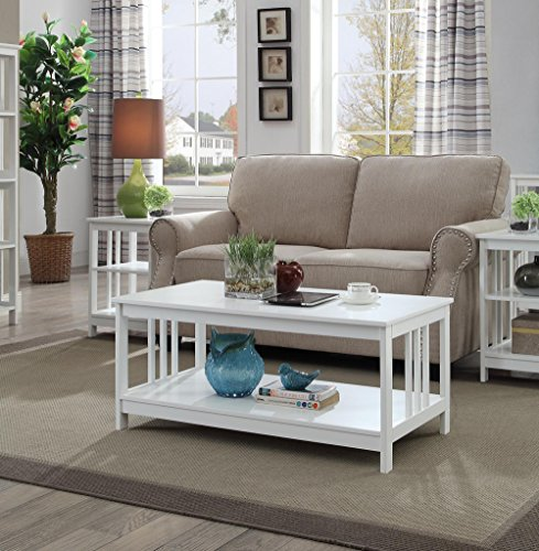 Convenience Concepts Mission Coffee Table, White
