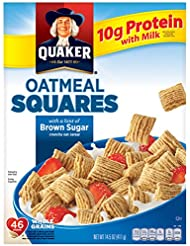 Quaker Oatmeal Squares, Brown Sugar, Breakfast Cereal, 14.5 oz Box