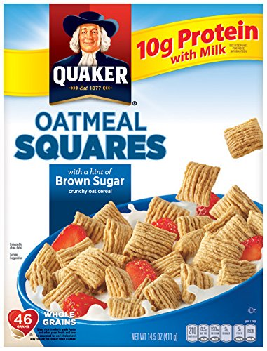 - Quaker Oatmeal Squares, Crunchy Oatmeal Cereal with a Hint of Brown Sugar, 14.5 Ounce box