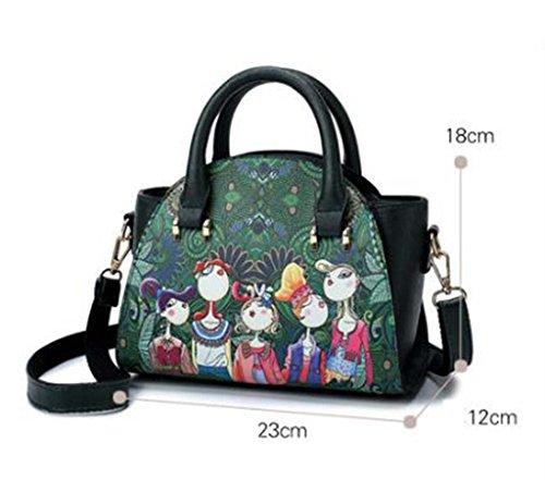 Imprimer Main Épaule Mode Sen Sac Mobile Sac À DDHZTA PU La Coréen Vert Diagonale Rétro Nouveau HFF8xO