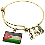 Expandable Wire Bangle Bracelet Jordan Flag with a vintage look - NEONBLOND