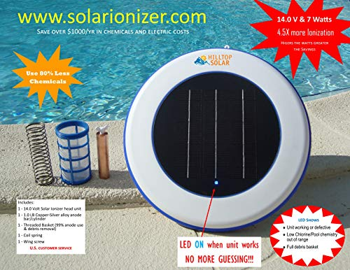 (Solar Pool Purifier/Solar Ionizer (14.0V/7.0 Watts -4.5X More efficient) with LED Indicator - Effective up to 45,000 Gallons - Copper-Silver Anode Reduces Chlorine use by 80% & Saves Over 1000/yr)