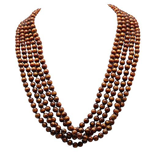 JYX Five-strands Coral Necklace 8mm Round Golden Coral Beads Necklace Handmade Gemstone Jewelry for Women 27
