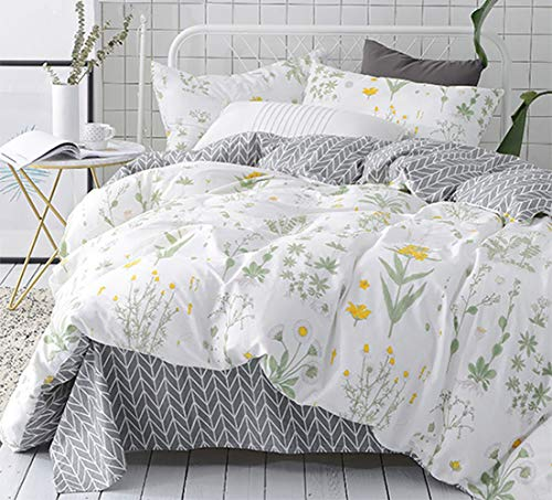 karever Floral Duvet Cover Set Twin Girls Cotton Bedding Blossom Botanical Plants Branches Comforter Cover -
