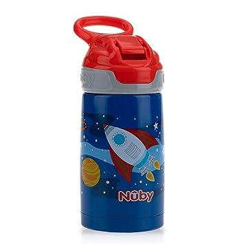 Nuby Sippy Cup - Botella de agua para niños (acero inoxidable), color azul brillante