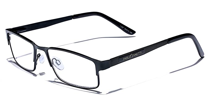 364a6ac5804 Amazon.com  Metal Wire Rim Rectangular Frame Reading Glasses with Spring  Hinge Various Strengths and Colors LARGE SIZE  Clothing