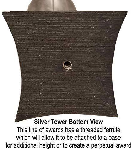 9.5 Inch Tall 9.5 Inch Tall Fantasy Football FFL Award Decade Awards Silver Football Tower Trophy
