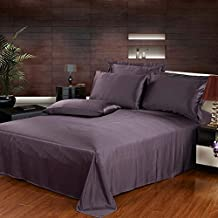 3pcs 22 Momme Seamless Mulberry Silk Bedding Set Flat Sheet and Oxford Pillowcases - Deep Purple,Full
