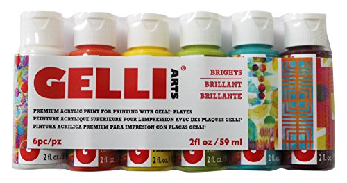 Gelli Arts Acrylic Paints Set (Bright Colors)