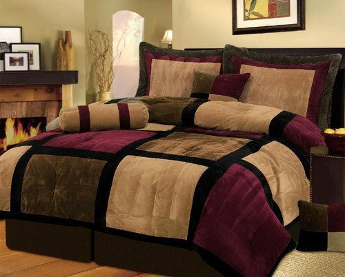 11-Piece Micro Suede Patchwork Comforter Set, Queen, Brown/Burgundy/Black With Matching Curtain Set