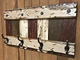 COATRACK HOOKS Wall Rustic Distressed Wood Coat Rack with 4 metal hooks 28'' RUSTIC Coat Rack BURGUNDY BROWN COMBO Cabin Wall Home Decor Red