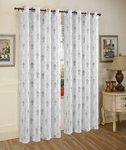 10' Metallic Bow (Traditional Elegance Metalic Spark Fleur de Lis Semi-Sheer Window Curtain Grommet Panel (52
