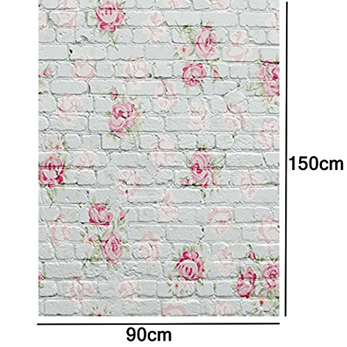 Showyou 3x5ft Retro Brick Florets Wall Photography Background Silk Backdrops Baby Newborn Photography Backdrop