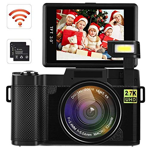 Video Camera Camcorder, DIWUER WiFi Digital Camera Recorder, 24.0MP Full HD 1080P Flip Screen Vlogging Camera with UV Lens, Flashlight (Two Batteries Included)