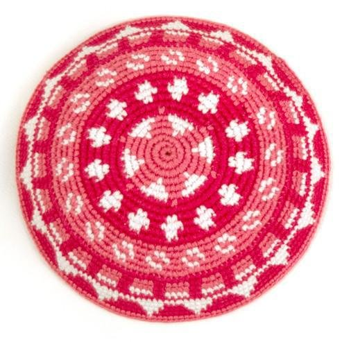 Mayan Hands Handmade Woven Kippah Yarmulke Fair Trade from Guatemala (Pink)
