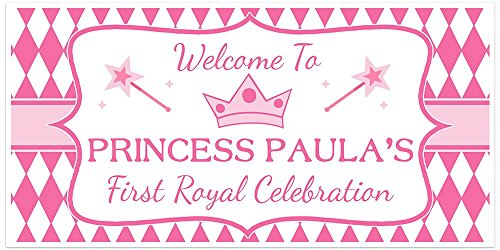 Princess Crown First Royal Celebration Birthday Banner Personalized Party Backdrop -