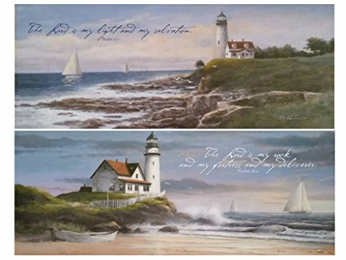 wallsthatspeak Two Lighthouse Motivationals 8x20 Christian Art Print Coastal Bath Wall Décor Psalm 27:1 18:2