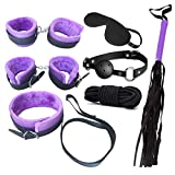 N3od3er 7 PCS Restraint Kits Leather Handcuffs Women Men Chain Adjustable Wrist Ankle Hand Cuffs in One an Interesting Gift Idea