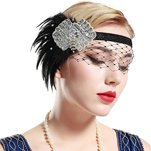 BABEYOND 1920s Flapper Headband Roaring 20s Sequined Headpiece Great Gatsby Headband with Black Feather 1920s Flapper -