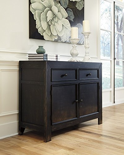 Ashley Furniture Signature Design - Gavelston Accent Cabinet - 2 Cabinets and 2 Drawers - Vintage Casual - Black (Two Chest Doors)