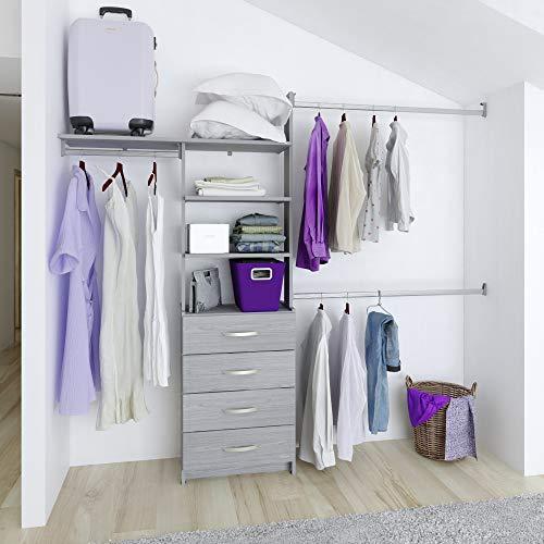 Closet armable organizador Máximo con cajonera 4 cajones ancho máximo de 245 cm (Gris)