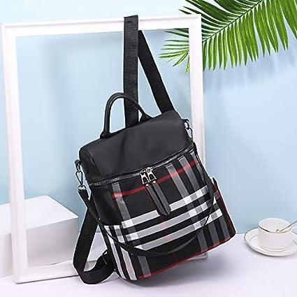 AIgogo Women Backpack Purse Fashion Waterproof Oxford Cloth Shoulder Handbags School Travel Bags Black-Stripe