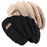 Knitted Winter Slouchy Beanie Hat - FURTALK Oversized Unisex Crochet Cable Ski Cap Baggy Slouch Hats For Women Men 2 PCS Pack (One siz, Black/Mix Khaki)