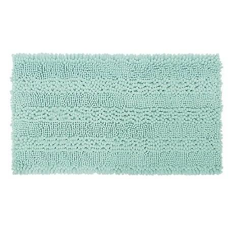 Laura Ashley Astor Striped Plush Chenille 17 X 24 Bath Mat, Aqua YMF Carpets Inc. LAYMB005456