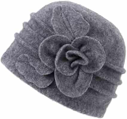 25309dc549b Dantiya Women s Winter Warm Wool Cloche Bucket Hat Slouch Wrinkled Beanie Cap  With Flower