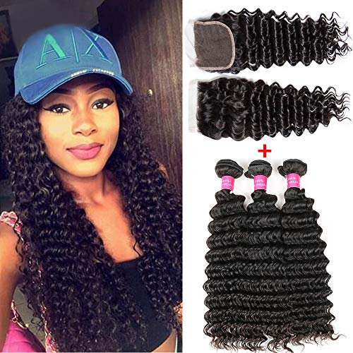 8A Brazilian Virgin Human Hair 3 Bundles Deep Wave Hair With Lace Closure (20 22 24+18) 100% Unprocessed Brazilian Hair Bundles With 4x4 Lace Closure Free Part Human Hair Extensions Double Wefts