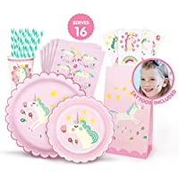 Hugo & Emmy Unicorn Birthday Party Supplies Set for Girls - Includes Plates, Cups, Napkins, Straws, Favor Bags and Tattoos - 128 Pieces (Serves 16)