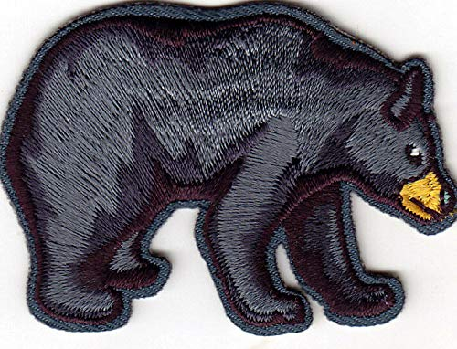 BLACK BEAR - WILD ANIMALS - ZOO -WOODS - FOREST - Iron On Embroidered Patch (Bear Patch)