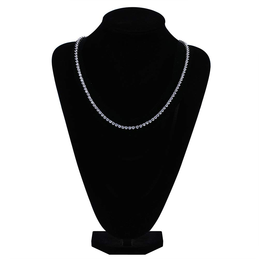 Silver-6MM, 18 JINAO 18k Gold Plated 1 Row 4//6MM Lab Simulated Diamond Iced Out Mens Hiphop 3 Prong Tennis Chain Necklace