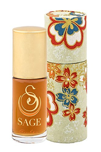 Sage Amber Roll-on Perfume Oil - Unique Luxury Gift Box - Natural Beauty - Niche - Travel - Aromatherapy - Earthy - Spicy - Sensual - Blood Orange - Amber - Vanilla - Musk by Sage Machado (Sensual Sage)