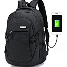 Trustbag a-001 Business Laptop Backpack With USB Charging Port, Anti Theft Lightweight Travel Bag for Women and Men, Fits Under 17 Laptop/Computer, Black